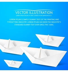 Paper boat on blue background vector image vector image