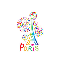Paris sign french famous landmark eiffel tower vector