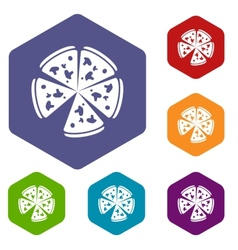 Pizza rhombus icons vector