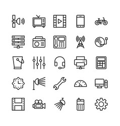 Science and technology line icons 10 vector