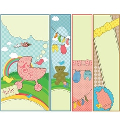 Set of 4 vertical baby themed banners vector
