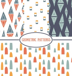 Set of seamless geometrical patterns vector image vector image