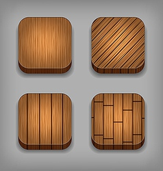 Set of wood textured buttons vector