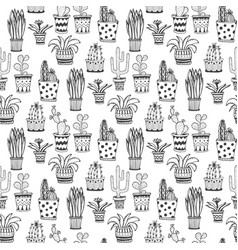 Succulent and cactus pattern doodle flowers in vector