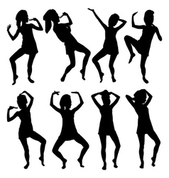 Cheerful young woman dancing vector