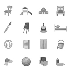 Kindergarten icons set gray monochrome style vector