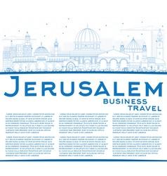 Outline jerusalem skyline with blue buildings vector