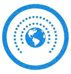 Earth Sphere Shield Rounded Icon Rubber Stamp vector image