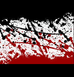 Abstract paint splatter black and red color vector
