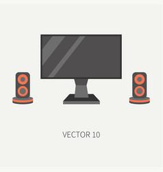 Plain flat color computer part icon lcd vector