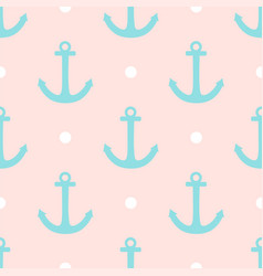 Sailor pattern with polka dots and anchors vector