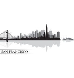 San francisco city skyline silhouette background vector