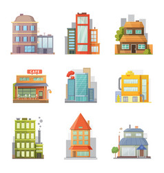 Flat design of retro and modern city houses old vector