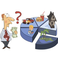 A man and the life expense chart caricature vector