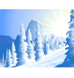 Morning sun shine and winter landscape vector