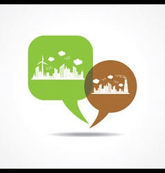Eco and polluted cityscape in message bubble vector