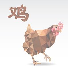 Chicken polygon origami zodiac vector