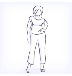 Contour of overweight elegant woman vector