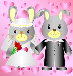 Cartoon bunnies bride and groom vector