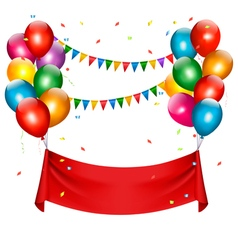 Holiday birthday banner with balloons vector