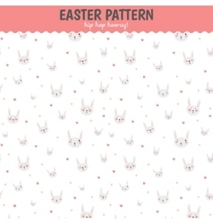 Cute funny seamless pattern with bunny and hearts vector
