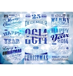 Christmas and happy new year typography vector