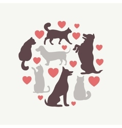 Cats and dogs silhouette round composition vector