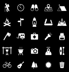 Trekking icons on black background vector