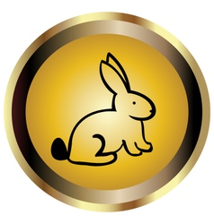 Gold seal of rabbit vector
