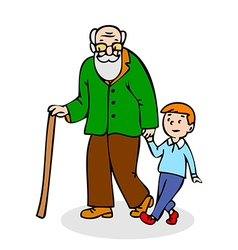 Grandfather with grandson funny old man vector