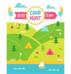 Summer camp hunt or quest poster vector