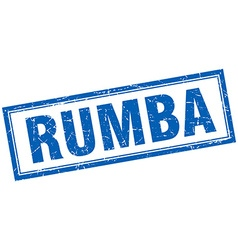 Rumba blue square grunge stamp on white vector