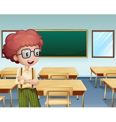 A boy inside the classroom vector image vector image