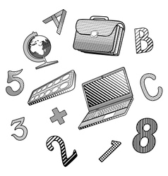 A small set of objects on the school theme vector image vector image