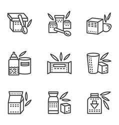 Baby food simple line icons vector