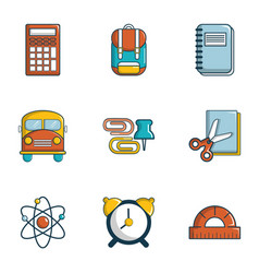 Back to school icons set flat style vector
