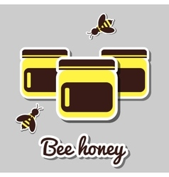 Bank with honey and honeybee vector