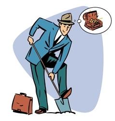 Businessman treasure hunter dreams money business vector image