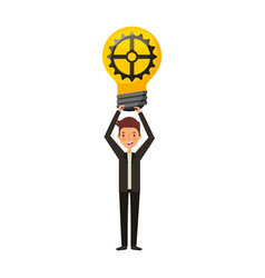 businessman with bulb avatar character icon vector image vector image