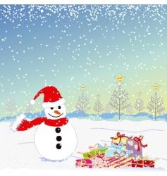 Christmas greeting snowman vector image