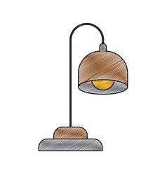 Color crayon stripe silhouette of desk lamp vector