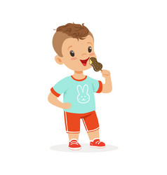 cute little boy character eating ice cream cartoon vector image vector image