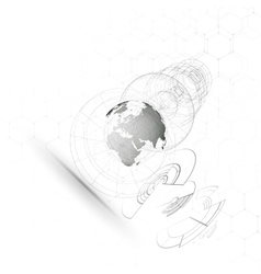 Dotted world globe connecting lines abstract vector