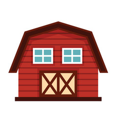 Farm house in cartoon style isolated on white vector