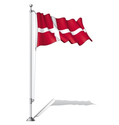 Flag Pole Denmark vector image vector image