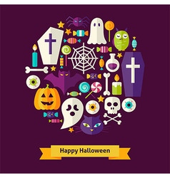 Flat Style Halloween Objects Concept vector image vector image