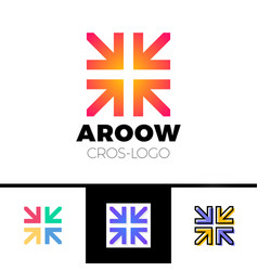 Four arrows logo form cross or plus graphic vector