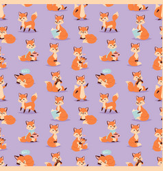 fox cute adorable character funny orange forest vector image vector image