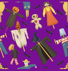 Garden ugly terrible fabric scarecrow vector