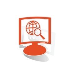 Global search monitor sticker orange vector image